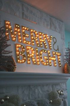 Christmas Light Up Marquee DIY - A Beautiful Mess Merry and bright merry christmas Diy Christmas Lights, Decorating With Christmas Lights, Merry Little Christmas, Noel Christmas, Outdoor Christmas, Winter Christmas, All Things Christmas, Christmas Decorations, Fireplace Decorations