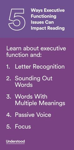 Executive function plays a big part in different aspects of learning to read. It's key to mastering the alphabet and understanding what words mean. So when kids have weak executive functioning skills it can create certain difficulties with reading.