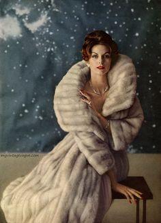 1950s model anne st marie modelling a long vintage mink fur coat ...V