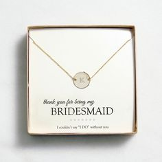 Exclusively Weddings | Personalized Medallion Necklace with Initial - Bridesmaid gift idea