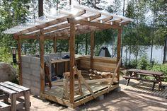 Kesäksi mökille! -mökkiprojekti: Kesäkeittiö edistyy Patio, Backyard, Bbq Bar, Gazebo, Pergola, Bar Shed, Summer Kitchen, Garden Seating, Shed Plans