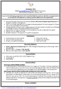 mechanical resumes for freshers