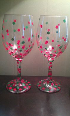 Wine glasses, Christmas Confetti Polka dots painted on wine glass. $10.00, via Etsy.