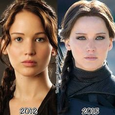 Katniss Everdeen - differences between 2012 (first film) and 2015 (last film)