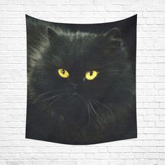 "Black Cat Cotton Linen Wall Tapestry 51""x 60"""