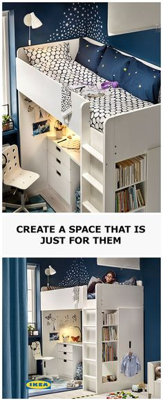 """A loft bed, textiles and a little tape on the floor is all you need to make a statement that says """"stay out"""" to a pesky sibling in a shared bedroom. Simply pull the curtain to divide the space in two, and climb up into bed to get some much-needed privacy and peace. Discover more in the all new IKEA Catalogue."""