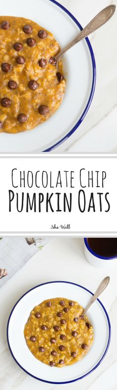 Chocolate Chip Pumpkin Oats! Perfect for people who are vegan, vegetarian, dairy-free and gluten-free! Click to read now or pin for later!