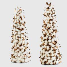 Cotton Pod Cone Topiary