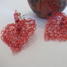 Hearts O' Wire Crocheted Wire Earrings