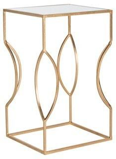 Brynn Mirrored Side Table, Gold -- The open, airy silhouette of this golden side table makes it an ideal addition for a small-scale home. Crafted of sturdy iron and topped with a mirrored glass surface.