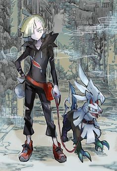 Gladion and Silvally. Silvally is just a big puppy dog he is so lovely
