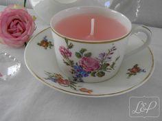 Bougie Vintage Tasse à thé et sous-tasse rétro porcelaine de Limoges n°1 : Luminaires par lin-et-patine