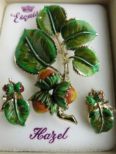 Exquisite Genuine Vintage Enamel Brooch & Matching Earrings.