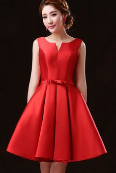 Red Bowknot Waist Lacing Back Sleeveless Prom Dress. Free Ems 3-7 days expedited shipping to U.S..Customer service: help@moooh.net