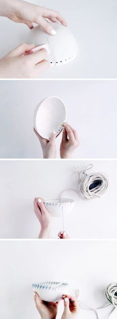 DIY Clay and Rope Pot tutorial. Love the bowl, rope must be done differently, looks a mess