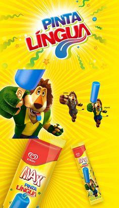 Novo sorvete de Max Pinta Língua. Mais um sabor para a família de Max da marca Kibon. Trabalho realizado na agência Oz Estratégia + Design