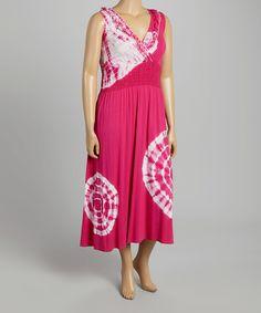 Look what I found on #zulily! Fuchsia Tie-Dye Rhinestone Surplice Dress - Plus by  #zulilyfinds