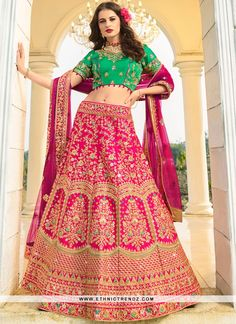 Buy glamorous lehenga online from our extensive collection of designer lehenga choli. Buy this picturesque embroidered and stone work work designer a line lehenga choli. Bridal Lehenga Online, Indian Bridal Lehenga, Lehenga Choli Online, Saree, Raw Silk Lehenga, Pink Lehenga, Banarasi Lehenga, Pink Silk, Silk Satin