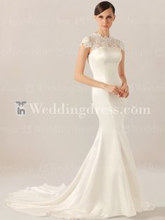 Mermaid Modest Wedding Dress with Cap Sleeves DE370