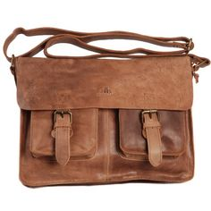 Tobacco Brown Vintage Leather Bag Twin Buckle Messenger Bag Satchel by... ❤ liked on Polyvore