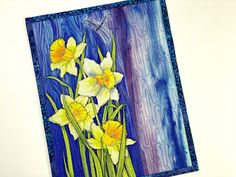 Daffodil Art Quilt, Quilted Wall Hanging, Spring Floral Quilted Art, Natures Weeds Fiber Art, Blue and Yellow Table Mat, Modern Room Decor Fiber Art Quilts, Handi Quilter, Modern Room Decor, Yellow Table, Quilted Wall Hangings, Daffodils, Confetti, A Table, Quilt Patterns