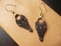 Brown Macrame earrings with brass beads