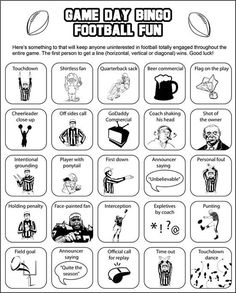 Super Bowl Bingo (for the kids or the adults that don't care much for the actual football watching)