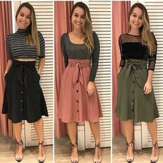 Womens High Waist Midi Skirt Summer Flared Knee Length Skater A-Line Dress Modest Dresses, Modest Outfits, Classy Outfits, Modest Fashion, Chic Outfits, Dress Outfits, Casual Dresses, Fashion Outfits, Denim Skirt Outfits