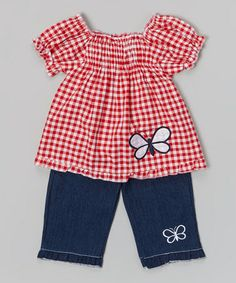 Loving this Red Plaid Butterfly Top & Denim Pants - Infant & Toddler on #zulily! #zulilyfinds