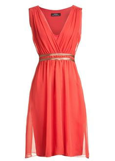 Noble ana alcazar coral belted dress in red