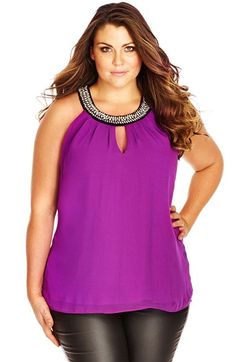 City+Chic+'Cleo'+Embellished+Neck+Top+(Plus+Size)+available+at+#Nordstrom