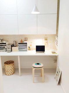 Ikea work space ('Frosta' stool, 'Bestå' storage units & desk organizer)