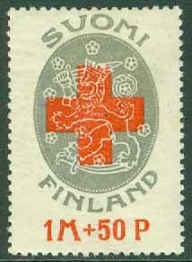 Red Cross and national coat of arms of Finland, a semi-postal (charity) stamp designed by Eric Otto Woldemar Ehrström printed by typography (letterpress), and issued by Finland om May Scott No. Facit No. Red And White, Black And Grey, Gray, France, Red Cross, Stamp Collecting, Digital Collage, Coat Of Arms, Postage Stamps