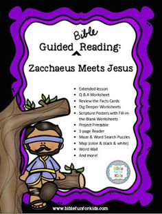 Zacchaeus free Guided Bible Reading pack with over 40 pages including stand-ups, foldable one-page book, masks and lots Preschool Bible, Preschool Letters, Preschool Lessons, Church Camp, Kids Church, Bible Crafts, Kids Crafts, Word Wall Labels, Zacchaeus