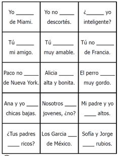 printable ser estar to be verb conjugation spanish game free on… Spanish Sentences, Spanish Worksheets, Spanish Games, Spanish Teaching Resources, Spanish Grammar, Spanish Activities, Spanish Language Learning, Spanish Teacher, Listening Activities