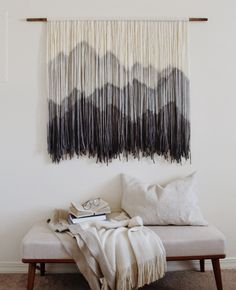 Modernyarns com custom dip dye tapestry fiber art wallhanging wallart dipdyed tapestryBet I could DIY this in green tones.Pin by julianne muterspaugh on macrame – Artofit Macrame Wall Hanging Diy, Macrame Art, Macrame Projects, Diy Projects, Wool Wall Hanging, Tapestry Wall Hanging, Boho Tapestry, Macrame Curtain, Macrame Knots