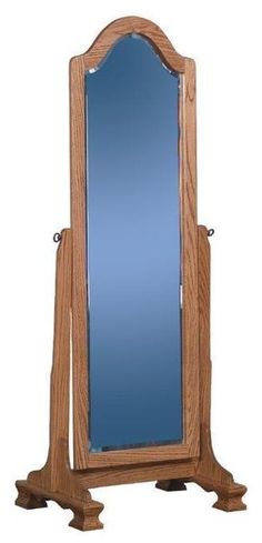 Amish Cathedral Cheval Mirror Full length bedroom mirror crafted in solid wood. Amish made in America. #mirror #fulllengthmirror