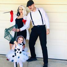Matching Family Halloween Costumes, Disney Family Costumes, Couples Halloween, Baby Girl Halloween Costumes, Theme Halloween, Halloween Outfits, Clever Couple Costumes, Kid Costume, Dalmatian Halloween Costume