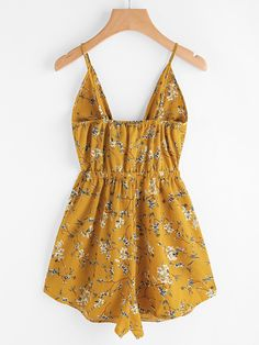 Shop Floral Print Cut Out Knot Front Cami Romper online. SheIn offers Floral Print Cut Out Knot Front Cami Romper & more to fit your fashionable needs. Trendy Outfits, Summer Outfits, Cute Outfits, Fashion Outfits, Summer Dresses, Floral Jumpsuit, Satin Jumpsuit, Cute Rompers, Print And Cut