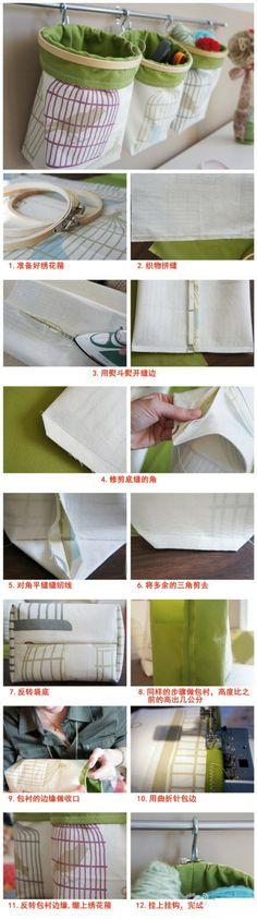 DIY storage bins....Sew a sack and use a wood needle point loom to hold onto hooks
