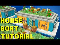This Minecraft survival house boat in Amsterdam tutorial shows how to build or make a house from a boat living in the water or lake on Ca. Minecraft House Tutorials, Minecraft Houses Survival, Minecraft Plans, Minecraft Houses Blueprints, Minecraft House Designs, Minecraft Tutorial, Minecraft Creations, Minecraft Crafts, Minecraft Cave House