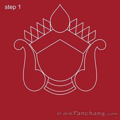 Free Hand Rangoli Design, Rangoli Border Designs, Rangoli Patterns, Colorful Rangoli Designs, Rangoli Designs Diwali, Rangoli Ideas, Emoji Drawings, Durga Painting, Pottery Painting Designs