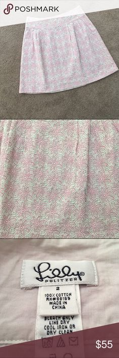 🎉HP🎉 Lilly Pulitzer Eyelet Skirt Host pick #PoshLoveFest: Classic Chic party 12/6/16! Adorable eyelet skirt by Lilly Pulitzer. Perfect for Summer! Lined. Great condition. No rips or stains. Length: 18 inches. 18.5 with lining. Waist: 14 inches. 100% cotton. ❌No trades❌ Lilly Pulitzer Skirts