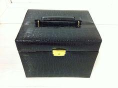 Black Crocodile JEWELLERY BOX with TRAVEL CASE and Lock. 8 Compartments. BNIB
