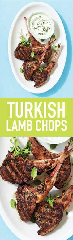 Kids love lamb chops because they come with their own handle, and in this easy recipe there's even a yogurt sauce to dip them in. Quick Pasta Recipes, Yummy Chicken Recipes, Yum Yum Chicken, Easy Dinner Recipes, Soup Recipes, Easy Meals, Dinner Ideas, Lamb Dishes, Tasty Dishes