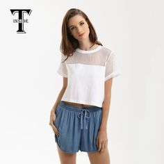 84e0738c799e1 ... China shirt couple Suppliers: T-INSIDE 2016 Brand New Fashion Midriff  High Quality Sexy Hollow-Out Short-Sleeve Top Shirts with Patchwork for  Tees Women