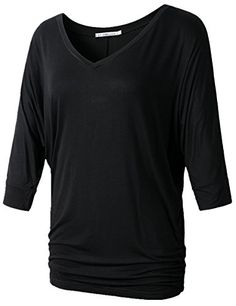 JollieLovin Womens V Neck Shirt Dolman Sleeves Side Shirring Drape Top (1X, A BLACK) *** You can find more details by visiting the image link. We are a participant in the Amazon Services LLC Associates Program, an affiliate advertising program designed to provide a means for us to earn fees by linking to Amazon.com and affiliated sites.