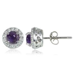 Sterling Silver 0.65ct Cabochon Amethyst and White Topaz 4mm Halo Stud Earrings
