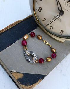 Vintage Rhinestone, Baroque Pearl and Gemstone Bracelet!