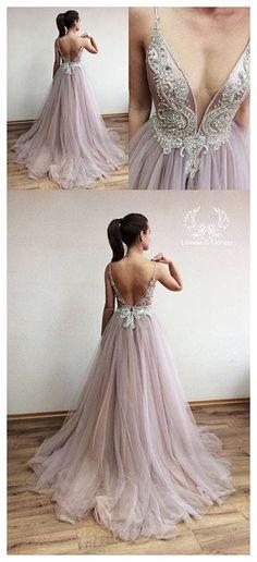 Charming Beading Deep V Neck Prom Dress, Sexy Open Back Long Prom Dresses M0962